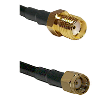 SMA Female on Belden 83242 RG142 to SMA Reverse Polarity Male Cable Assembly
