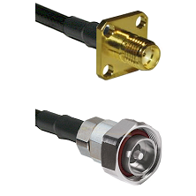 SMA 4 Hole Female on LMR-195-UF UltraFlex to 7/16 Din Male Cable Assembly