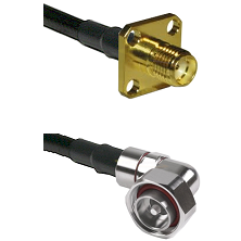 SMA 4 Hole Female on LMR-195-UF UltraFlex to 7/16 Din Right Angle Male Cable Assembly