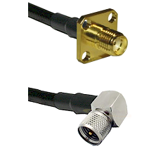 SMA 4 Hole Female on LMR-195-UF UltraFlex to Mini-UHF Right Angle Male Cable Assembly
