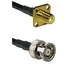 SMA 4 Hole Female on LMR-195-UF UltraFlex to BNC Reverse Polarity Male Cable Assembly