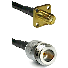 SMA 4 Hole Female on LMR-195-UF UltraFlex to N Reverse Polarity Female Cable Assembly