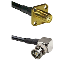 SMA 4 Hole Female on LMR-195-UF UltraFlex to BNC Reverse Polarity Right Angle Male Coaxial Cable Ass