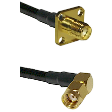 SMA 4 Hole Female on LMR-195-UF UltraFlex to SMA Reverse Polarity Right Angle Male Coaxial Cable Ass