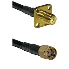 SMA 4 Hole Female on LMR-195-UF UltraFlex to SMA Reverse Polarity Male Cable Assembly