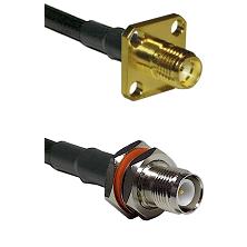 SMA 4 Hole Female on LMR-195-UF UltraFlex to TNC Reverse Polarity Female Bulkhead Coaxial Cable Asse