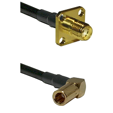 SMA 4 Hole Female on LMR-195-UF UltraFlex to SLB Right Angle Female Cable Assembly