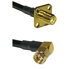 SMA 4 Hole Female on LMR-195-UF UltraFlex to SMA Right Angle Male Cable Assembly