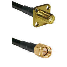 SMA 4 Hole Female on LMR-195-UF UltraFlex to SMA Reverse Thread Male Cable Assembly