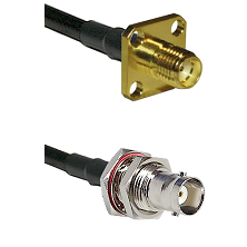 SMA 4 Hole Female on LMR200 UltraFlex to BNC Female Bulkhead Cable Assembly