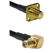 SMA 4 Hole Female on RG188 to SMA Reverse Thread Right Angle Female Bulkhead Cable Assembly