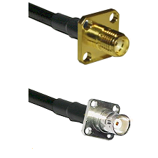 SMA 4 Hole Female on RG400 to BNC 4 Hole Female Cable Assembly