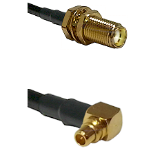 SMA Female Bulkhead on LMR100 to MMCX Right Angle Male Cable Assembly