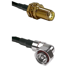 SMA Female Bulkhead on LMR-195-UF UltraFlex to 7/16 Din Right Angle Male Cable Assembly