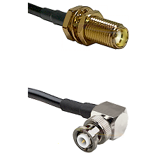 SMA Female Bulkhead on LMR-195-UF UltraFlex to MHV Right Angle Male Cable Assembly