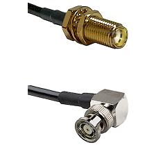 SMA Female Bulkhead on LMR-195-UF UltraFlex to BNC Reverse Polarity Right Angle Male Coaxial Cable A