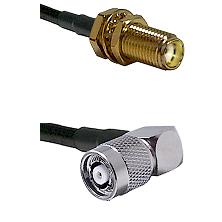 SMA Female Bulkhead on LMR-195-UF UltraFlex to TNC Reverse Polarity Right Angle Male Coaxial Cable A