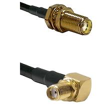 SMA Female Bulkhead on LMR-195-UF UltraFlex to SMA Right Angle Female Bulkhead Coaxial Cable Assembl