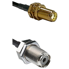 SMA Female Bulk Head To UHF Female Bulk head Connectors LMR-195-UF UltraFlex Custom Coaxial C