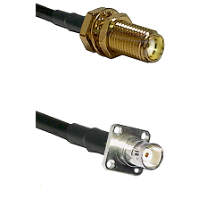 SMA Female Bulkhead on RG142 to BNC 4 Hole Female Cable Assembly