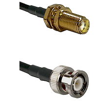 SMA Female Bulkhead on RG142 to BNC Male Cable Assembly