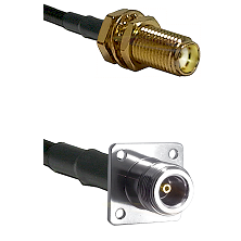 SMA Female Bulkhead on RG142 to N 4 Hole Female Cable Assembly