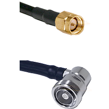 SMA Male on Belden 83242 RG142 to 7/16 Din Right Angle Female Cable Assembly