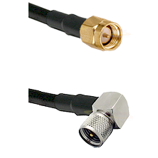 SMA Male on Belden 83242 RG142 to Mini-UHF Right Angle Male Cable Assembly