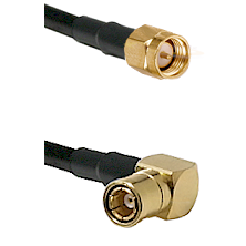SMA Male on Belden 83242 RG142u to SMB Right Angle Female Cable Assembly