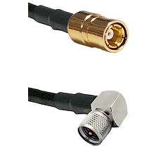 SMB Female on RG58C/U to Mini-UHF Right Angle Male Cable Assembly