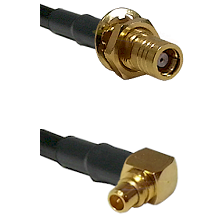 SMB Female Bulk Head To Right Angle MMCX Male Connectors LMR195  Cable Assembly