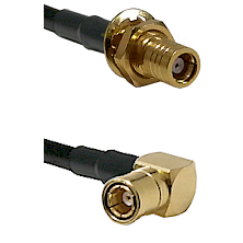 SMB Female Bulkhead on LMR-195-UF UltraFlex to SMB Right Angle Female Cable Assembly