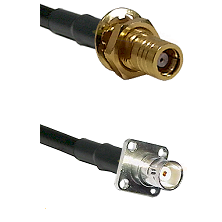 SMB Female Bulkhead on RG142 to BNC 4 Hole Female Cable Assembly