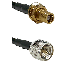 SMB Female Bulkhead on RG142 to Mini-UHF Male Cable Assembly