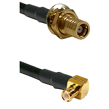 SMB Female Bulkhead on RG142 to MCX Right Angle Male Cable Assembly