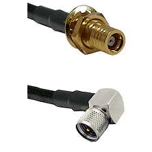 SMB Female Bulkhead on RG142 to Mini-UHF Right Angle Male Cable Assembly