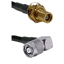 SMB Female Bulkhead on RG142 to TNC Reverse Polarity Right Angle Male Cable Assembly