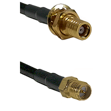 SMB Female Bulkhead on RG142 to SMA Reverse Polarity Female Cable Assembly