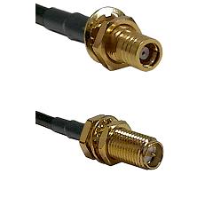 SMB Female Bulkhead on RG142 to SMA Reverse Polarity Female Bulkhead Cable Assembly