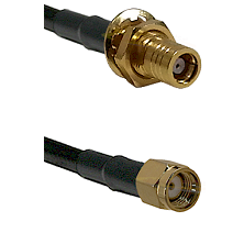 SMB Female Bulkhead on RG142 to SMA Reverse Polarity Male Cable Assembly