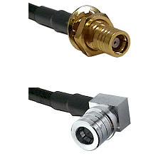 SMB Female Bulkhead on RG142 to QMA Right Angle Male Cable Assembly