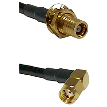 SMB Female Bulkhead on RG142 to SMA Reverse Polarity Right Angle Male Cable Assembly