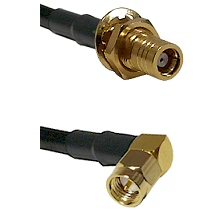 SMB Female Bulkhead on RG142 to SMA Right Angle Male Cable Assembly
