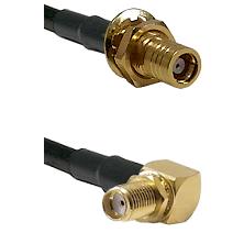 SMB Female Bulkhead on RG142 to SMA Reverse Thread Right Angle Female Bulkhead Coaxial Cable Assembl