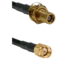 SMB Female Bulkhead on RG142 to SMA Reverse Thread Male Cable Assembly