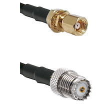 SMC Female Bulkhead on RG142 to Mini-UHF Female Cable Assembly