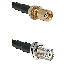 SMC Female Bulkhead on RG58C/U to Mini-UHF Female Cable Assembly