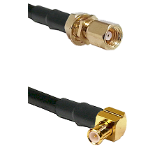 SMC Female Bulkhead on RG58C/U to MCX Right Angle Male Cable Assembly