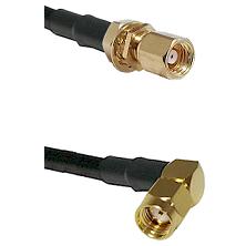 SMC Female Bulkhead on RG58C/U to SMA Reverse Polarity Right Angle Male Cable Assembly
