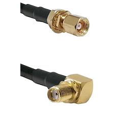 SMC Female Bulkhead on RG58 to SMA Reverse Thread Right Angle Female Bulkhead Cable Assembly